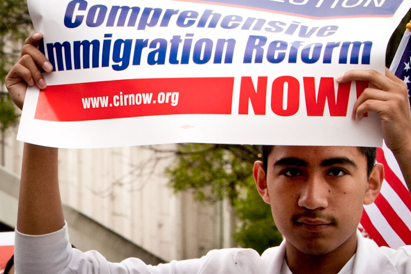 At a rally in Walla Walla calling for immigration reform way back in 2010. (Photo by Dick_Morgan)