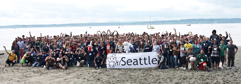 The Seattle meetup for last year's Global reddit Meetup day, at Golden Gardens. (Photo courtesy /r/Seattle.)