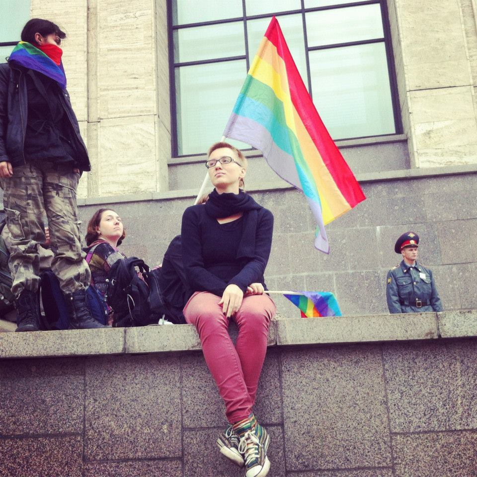 LGBT Activists at a September 2012 anti-Putin rally in Moscow. Photo by Sarah Stuteville.