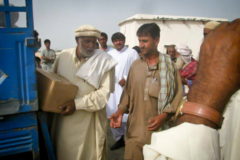 Relief supplies are delivered to earthquake victims in Awaran. Pakistan's military is coordinating relief efforts but international funding drives have been lacking. (Photo courtesy Hina Baloch)