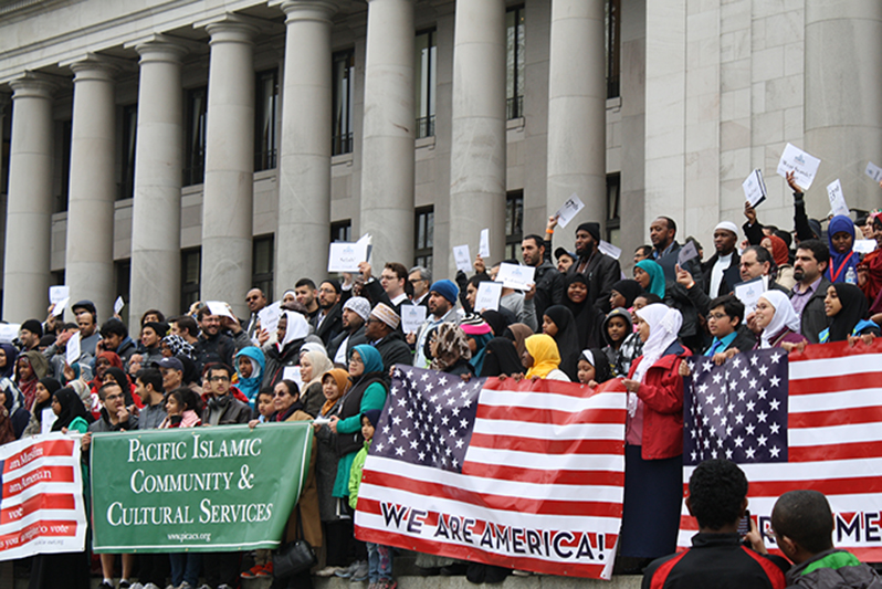 More than 500 Muslim Americans gathered in the state capitol in Monday to send a clear message to the Legislature: protect low-income housing, pass the DREAM Act and vote against invasive drone surveillance. (Photo by Atia Musazay)