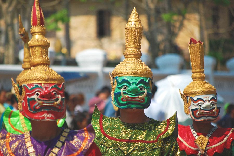 Dancers in traditional costumes at a New Year's parade in Laos. (Photo by Darren Donahue)