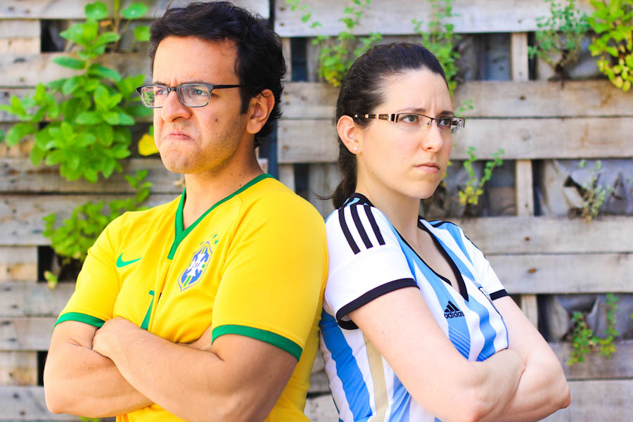 Nicole Pita and Andre Mascarenhas are newlyweds on opposite sides of the world's fiercest soccer rivalry. (Photo by Andre Mascarenhas)