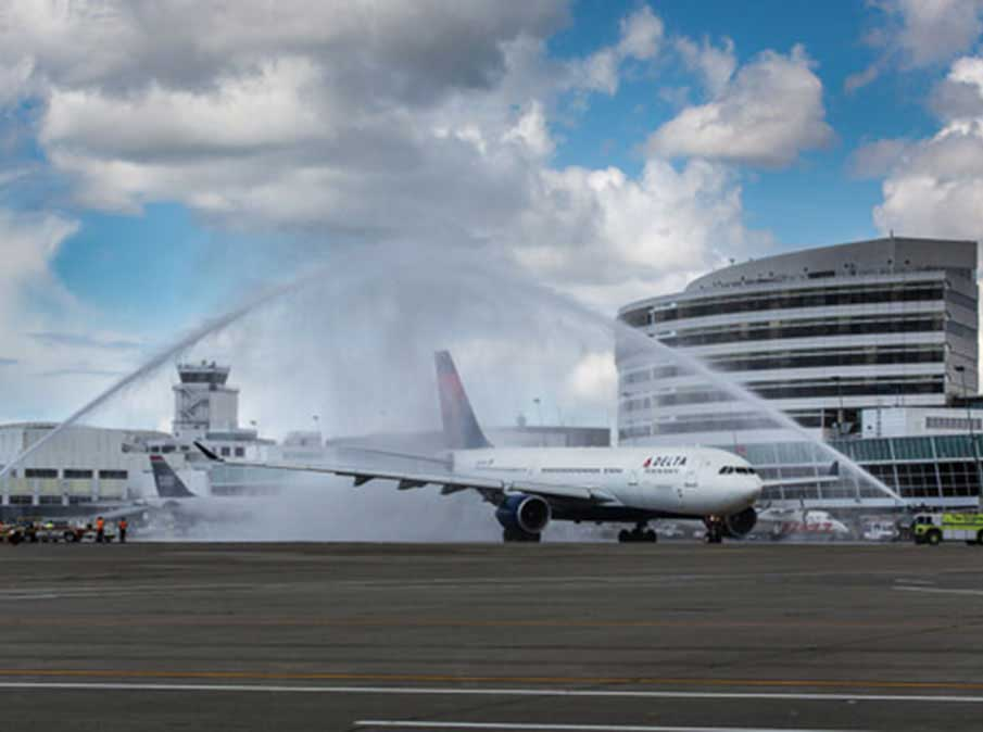 Delta's inaugural flight to Hong Kong from Sea-Tac Airport in June. (Photo by Don Wilson/Port of Seattle)