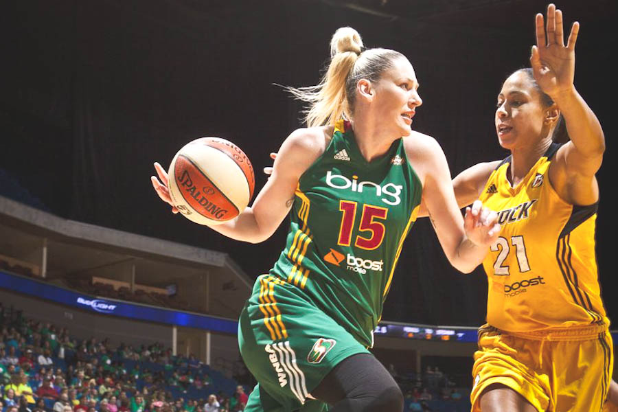 Australian superstar Lauren Jackson (left) is the best known of a long string of Aussie players for the Seattle Storm. (Photo Courtesy Seattle Storm)