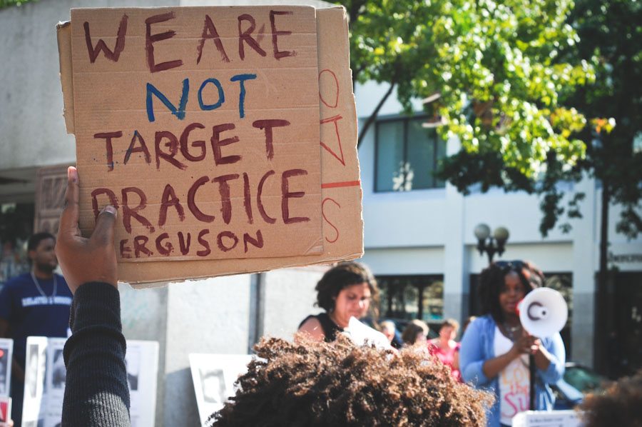Demonstrators at Westlake Park last weekend protest a rash of police killing civilians. (Photo by Sara McCaslin)
