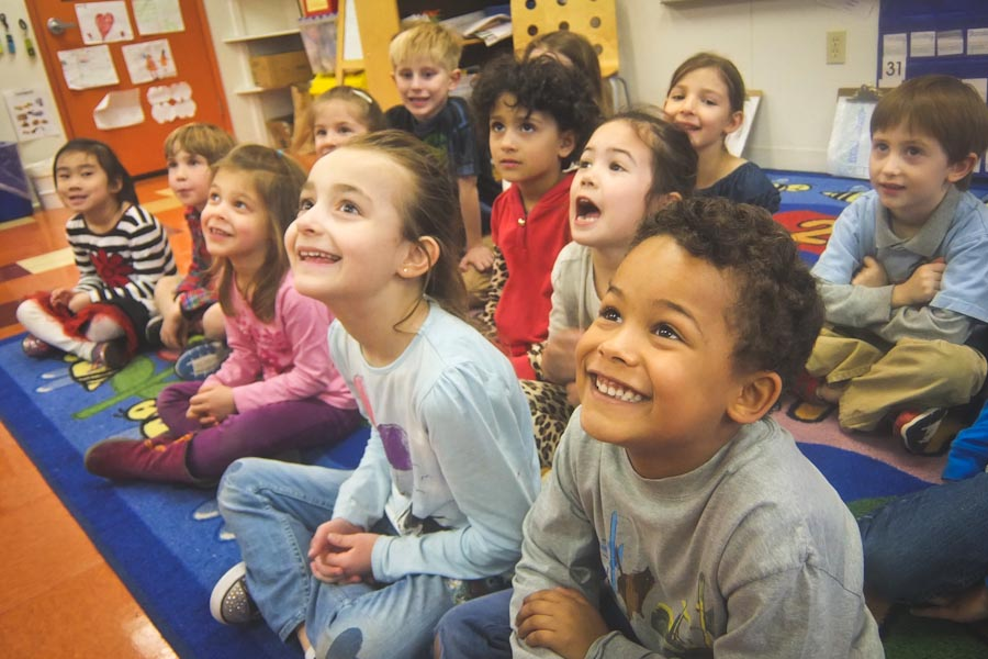 Kindergarten Students at the French American School of Puget Sound, on Mercer Island, which has been offering bilingual education in French for almost 20 years. (Photo coutesy FASPS)