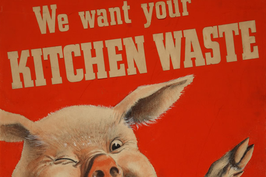 A WWII era poster encourages saving food scraps to feed animals. (Photo from National Archives)