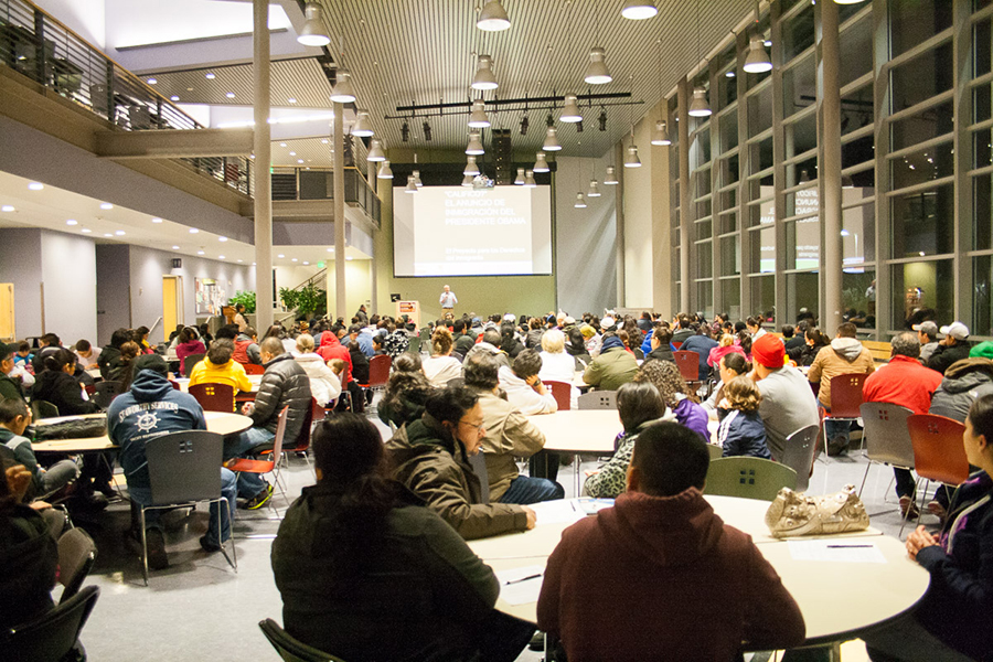 The turnout at Highline College at an informational event earlier this month. (Photo courtesy of NWIRP)