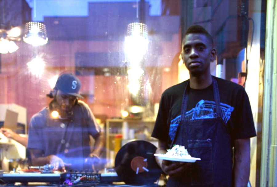 Tarik Abdullah at a pop-up dinner in Hillman City featuring live DJs. (Photo courtesy of Tarik Abdullah)