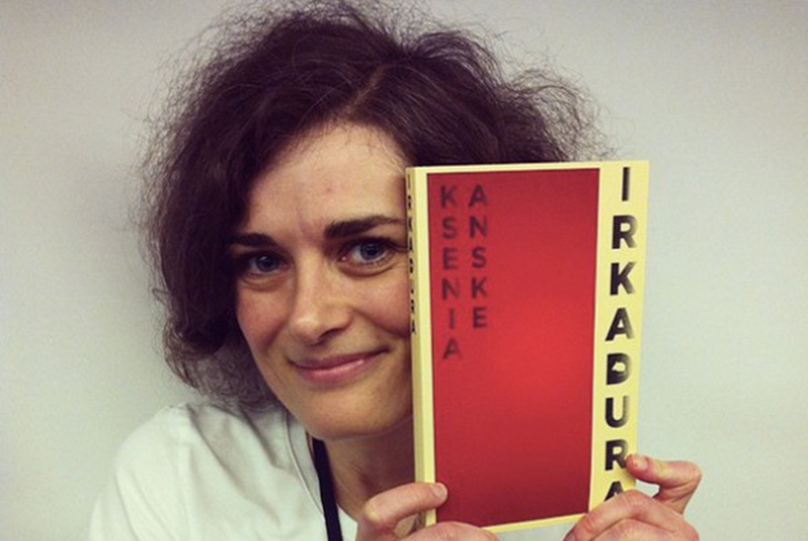 Anske holding her book, 'Irkadura', about a Russian mute with special powers. (Photo courtesy Ksenia Anske)