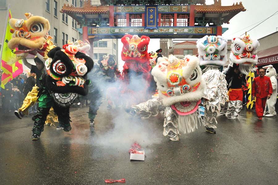 Lion dancers help celebrate Chinese Lunar New Year in Seattle's International District in 2011. (Photo by Joe Mabel)