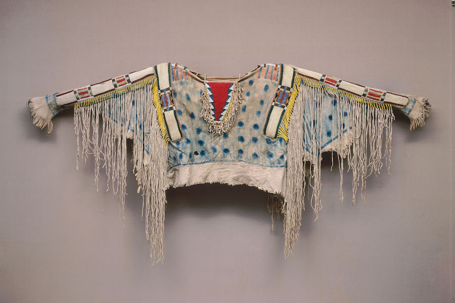 Man's shirt, ca. 1850, Niimiipu (Nez Perce), Oregon or Idaho, Hide, porcupine quills, horsehair, wool, glass beads, pigment, 32 11/16 × 60 2/3 in., Diker no. 666 Courtesy of American Federation of Arts