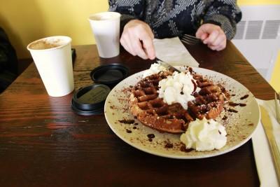 The Cortona Café staple, a tiramisu waffle.