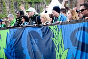 "Emerald City Supporters lead the ""March to the Match"" from Pioneer Square to CenturyLink Field at last Sunday's home opener. (Photo by Justice Magraw)"