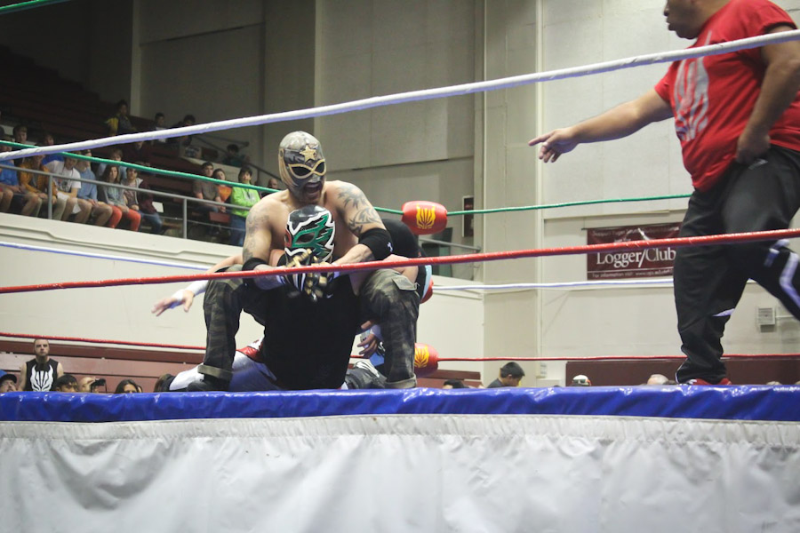 "Wrestlers from Lucha Libre Volcánica perform in Tacoma for ""Lucha de Sound."" (Photo by Olivia Fuller)"
