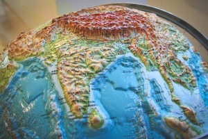 The Indian subcontinent on a 3D globe at the Seattle Public Library. The Seattle metro areas South Asian population grew 173% between 2000 and 2010. (Photo from Flickr by J Brew)