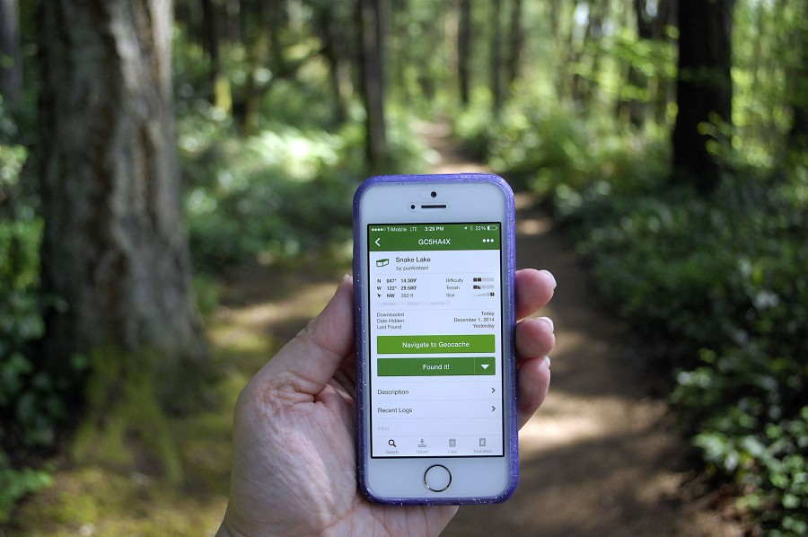 Geocaching is a world-wide treasure hunt using a GPS device or smart phone app. There are over 2.5 million geocaches around the world and with those devices, geocachers can locate a hidden container that can be slightly bigger than a thumbtack or the size of a car. (Photo by Joanna M. Kresge)