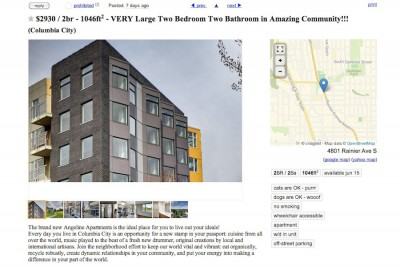A Craigslist ad for a 2 bedroom apartment renting for $2930 at the Angeline. Other units are set aside for middle and low income housing.
