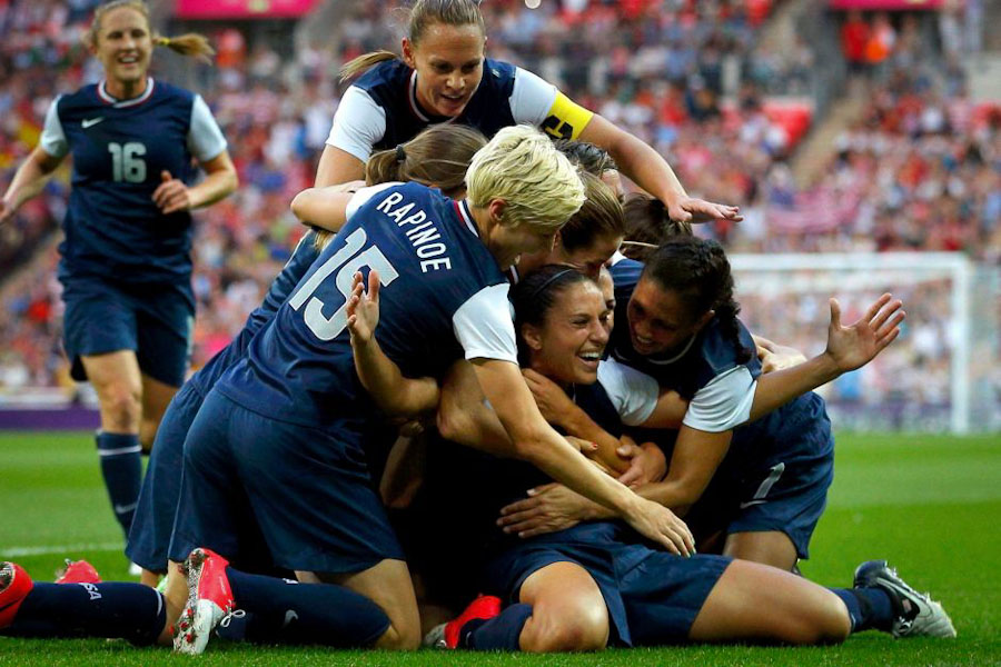 Megan Rapinoe and other members of the US Women's National Team celebrate victory over Japan in the 2012 Summer Olympics. The team is hoping to bring home it's first World Cup victory in over 15 years. (Photo from REUTERS)