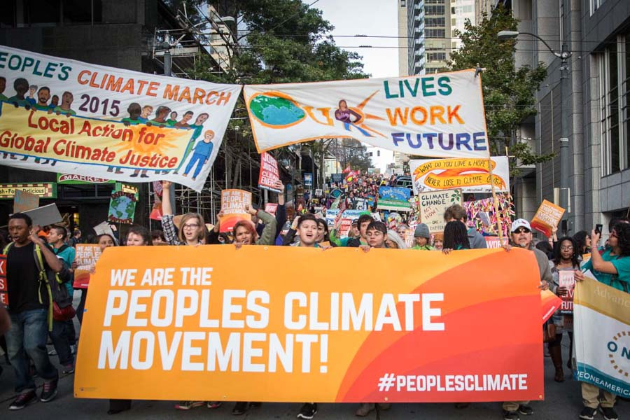 Marchers move down Madison St. during the Seattle People's Climate March on Wednesday. (Photo by Alex Garland)