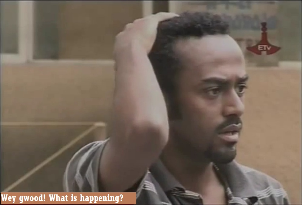 An actor is confused and sad about something. (Screen capture from a famous Amharic conspiracy drama titled Sew Le Sew/ሰው ለ ሰው)