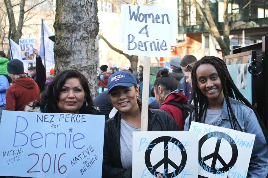 "Sanders supporters gather at Occidental Park before the ""March for Bernie 2""on Saturday. (Photo by Sharayah Lane)"