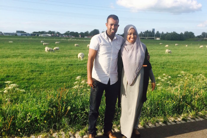 The author with her Uncle Mohammed Ibraahim In Holland, her Adheer. (Photo courtesy of Ahlaam Ibraahim)