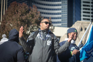 Doug Baldwin basks in Seattle fans' adoration after winning the Super Bowl. (Photo from Flickr by Jeff)