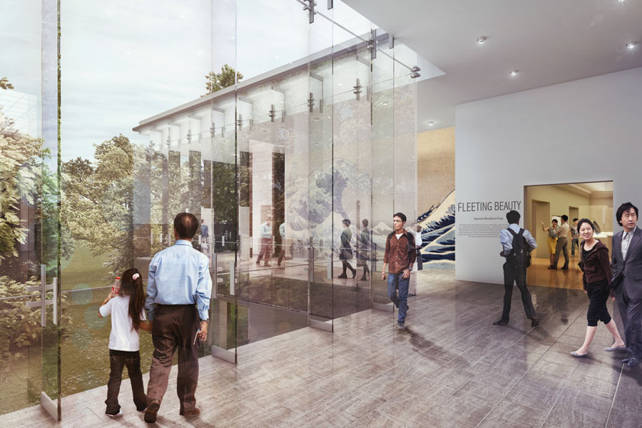 A rendering of museum goers in a glassed in area planned for the renovated Seattle Asian Art Museum. (Courtesy photo)