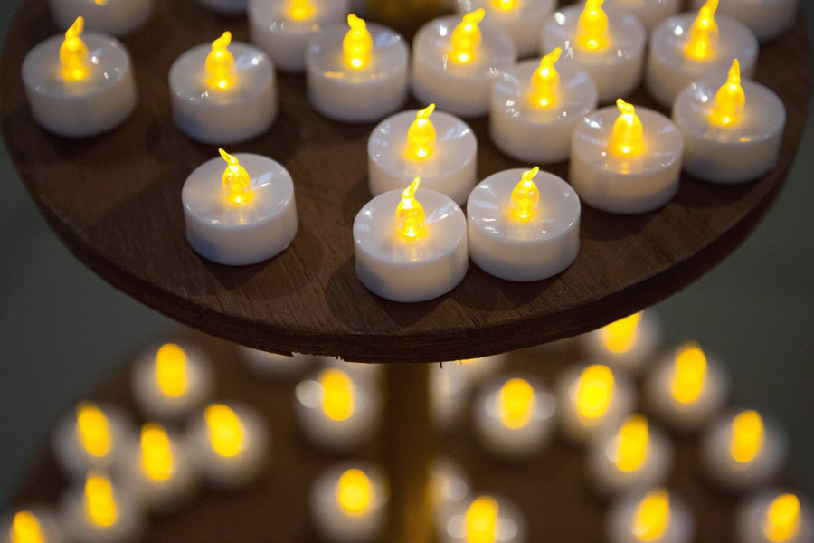 Dozens of small plastic candles sit on a display at the Festival of Lights Diwali celebration at the Seattle Center Armory in 2014. (Lindsey Wasson / The Seattle Times)