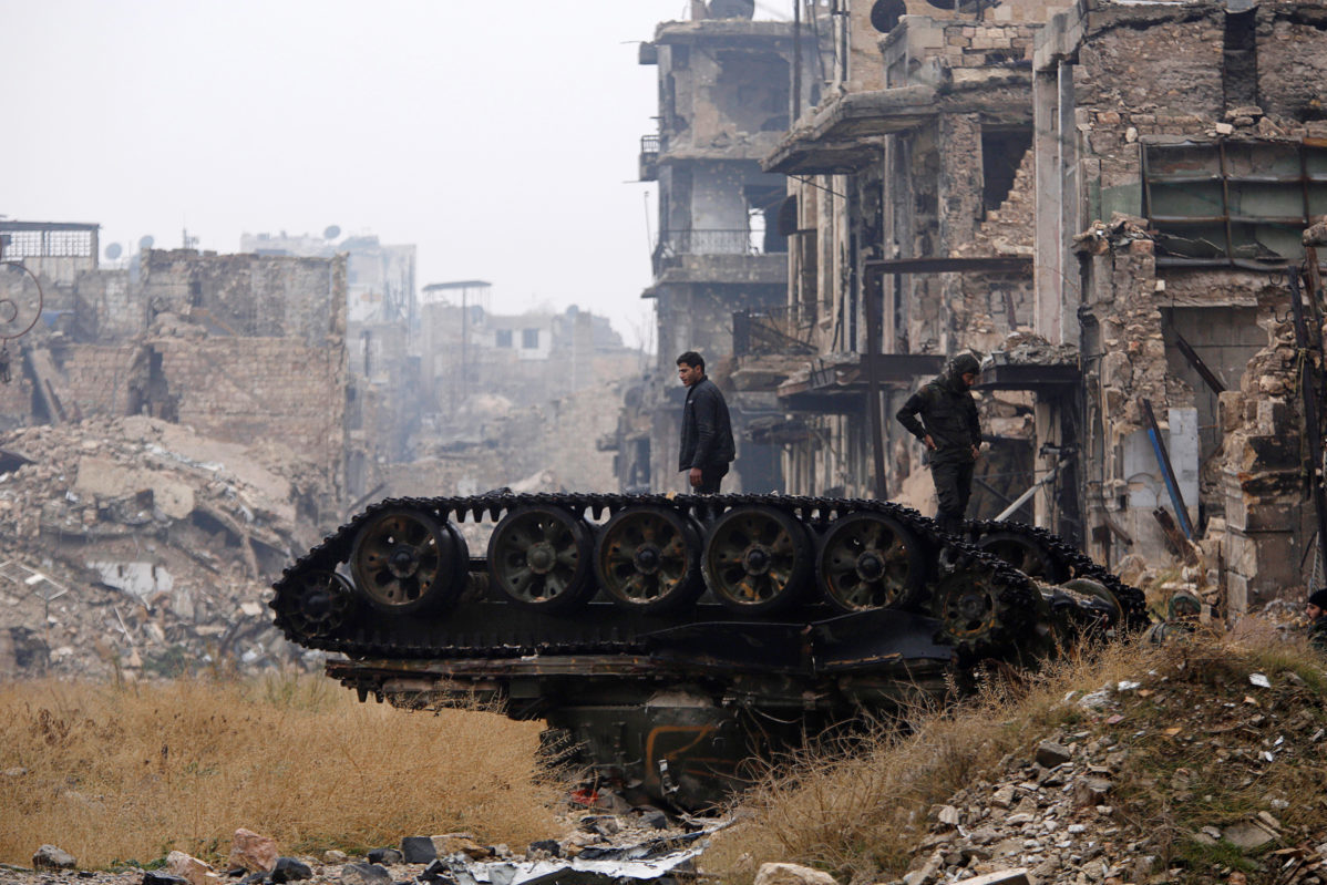 Forces Loyal To Syria S President Bashar Al Assad Stand Atop A