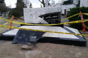 The sign at the Muslim Association of Puget Sound mosque in Redmond was vandalized for the second time in a month. (Photo by Redmond Police Department via Facebook)