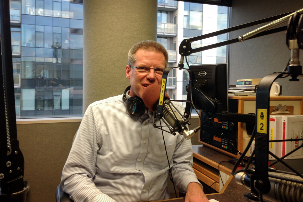 Joseph Castleberry, president of Northwest University, in an interview with Spanish-language KNTS Radio Luz in Seattle (Courtesy photo by Chuck Olmstead)