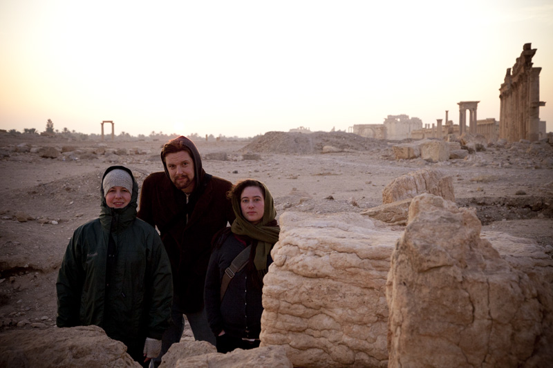 Seattle Globalist co-founders Sarah Stuteville, Alex Stonehill and Jessica Partnow on a chilly morning in Palmyra, Syria in 2010.