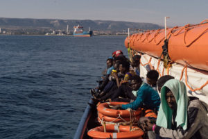 Sea-Watch 3, the last rescue ship operating in the central Mediterranean saved 47 people from a rubber dinghy, off the coast of Libya, on Jan. 19. (Photo by Felix Weiss for Sea-Watch).