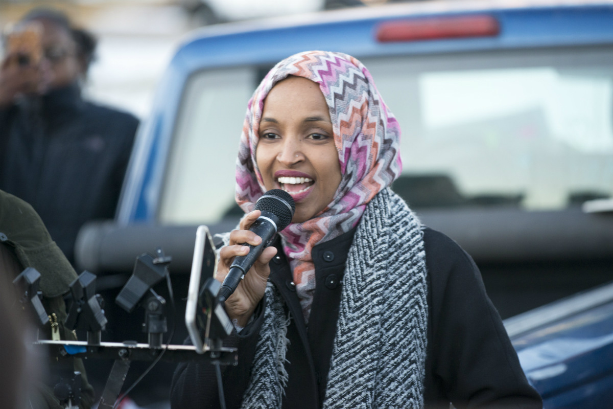 Rep. Ilhan Omar, D-Minn., speaking at a worker protest against Amazon in Shakopee, Minnesota on Dec. 14, 2018. (Photo by Fibonacci Blue via Flickr)